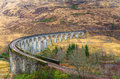 Railway viaduct glenfinnan in the highlands of scotalnd on a rainy winter day Stock Photo