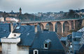 Railway viaduct in luxembourg pulvermuhle Stock Image