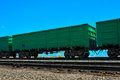 Railway wagon metal open for transportation of bulk materials Royalty Free Stock Photography