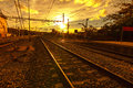 Railway the way forward at sunrise outdoor landscape Royalty Free Stock Image