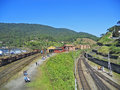 Railways in historic town of paranapiacaba brazil Royalty Free Stock Images