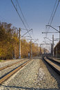 Railways stones Wire day in the city Royalty Free Stock Photo