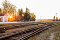 Railways in the the sunset photo taken on october th Royalty Free Stock Photo