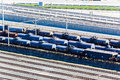 Railyard tankers tracks transport rail yard with transporting trailers carrying liquids at durban harbor terminal south africa Royalty Free Stock Photo