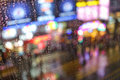 Rain abstract background with defocused lights bokeh Royalty Free Stock Photo