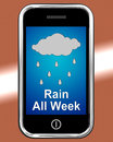 Rain all week on phone shows wet miserable weather showing Royalty Free Stock Image