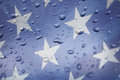 Rain on the american flag drops Royalty Free Stock Photography