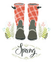Rain boots and spring forest grass, design card Stock Photography