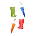 Rain Boots and Umbrellas, watercolor season symbols, hand drawn elements of design