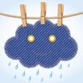 Rain cloud on a clothesline Royalty Free Stock Image