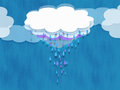 Rain cloud a multi layered with raindrops falling in lavender drops a blue drops Royalty Free Stock Images