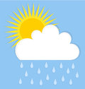 Rain cloud and sun raining summer sky illustration Royalty Free Stock Photos