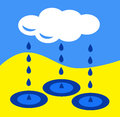Rain from clouds creates puddles from drops Royalty Free Stock Photography