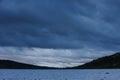 Rain clouds over the gutulia sea, norway Royalty Free Stock Photo