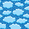 Rain clouds and rain vector illustration of a seamless background wallpaper Royalty Free Stock Images