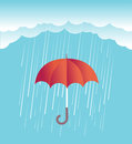 Rain clouds with red umbrella.Vector spring sky