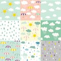 Rain and clouds seamless patterns Royalty Free Stock Photo
