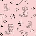Rain. Cute seamless pattern with rubber boots and an umbrella. Vector decorative background for design