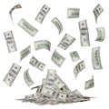 Rain of dollar bills and a heap of money isolated Royalty Free Stock Photo