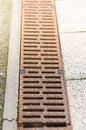 Rain drain long rusty metal Stock Images