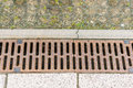 Rain drain long rusty metal Royalty Free Stock Images