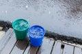 Rain drop in bucket water, weather rainy