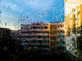 Rain drops on window spring balcony Stock Image