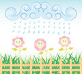 Rain flower garden hand drawn illustration Royalty Free Stock Photos