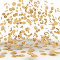 Rain from the golden coins Royalty Free Stock Photo