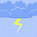 Rain with lightning vector illustration Royalty Free Stock Photos