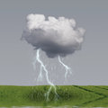 Rain and lightning weather concept with cloud flooded field Royalty Free Stock Images