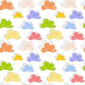 Rain louds seamless colored clouds background with drops Stock Image