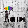 Rain man sign concrete wall Royalty Free Stock Photo