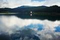 Rain on mountain lake Royalty Free Stock Photo