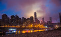 After the rain of the night in chongqing china shooting in the north of the changjiang river mouth the opposite is the nanping and Stock Image