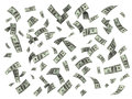 Rain of one hundred dollar bills. Royalty Free Stock Photo