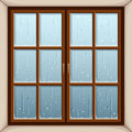 Rain outside the window. Vector illustration.