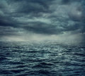Rain over the stormy sea Royalty Free Stock Photo