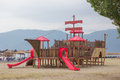 After the rain playground equipment at new vrasna beach greece Stock Images