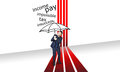 Rain problem with red lines and black umbrella Royalty Free Stock Photos