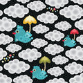 Rain seamless pattern with bird and umbrella vector background Stock Images