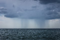Rain and storm in the black sea very clouds Stock Images