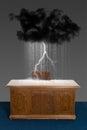Rain Storm Cloud Business Office Desk Royalty Free Stock Photo