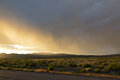 Rain storm over northern california desert Royalty Free Stock Images