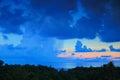 Rain and sunset under ocean Stock Photo