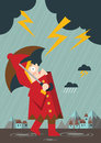 Rain and thunder a illustration of the little boy astonished at the heavy Stock Images