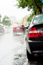 Rain and traffic jam Royalty Free Stock Image