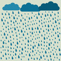 Rain. Vector image with clouds in wet day. Rain pattern. Rain ba