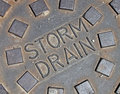 Rain water, street metal construction details, Stock Images