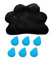 Rain weather forecast icon symbol plasticine clay on white background Stock Photos